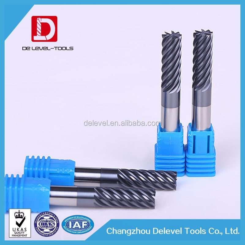 Delevel Solid Carbide 6 Flutes Finishing End Mill , Tungsten Carbide Square End Mill