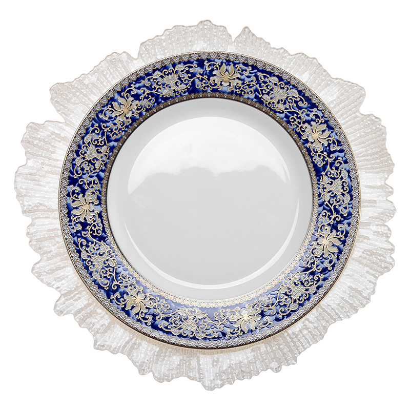 HOSEN 28 Chinese Blue Flower Wedding Bone china Dinner Plate With Gold Rim, Blue And White Tableware Bone China~