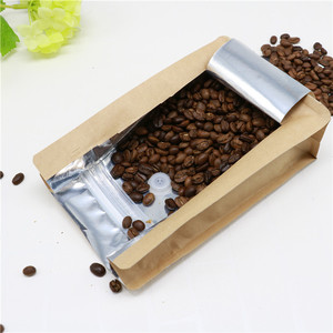 shanghai brown kraft paper stand up pouches recycle coffee packaging bag with valve
