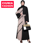 1564# Casual Lace Embroidered Women Elegant Modest Muslim Islamic Full Length Loose O-Neck Color Block Maxi Abaya Burqa designs