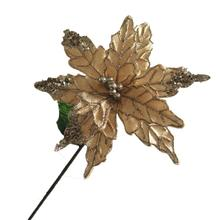 Plastic Poinsettia Pick with berries one stem for Christmas Tree decoration