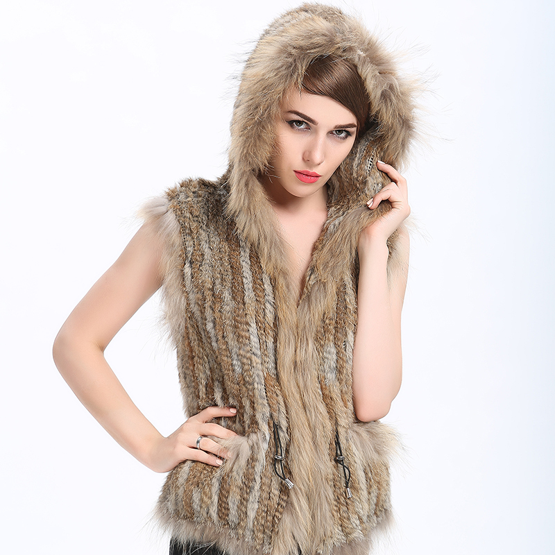 Rabbit Fur Vest Knitted 2015 New Fashion Designers Brand Hooded Mink Fur Winter Women Luxury Genuine Women Natural Fur Vest