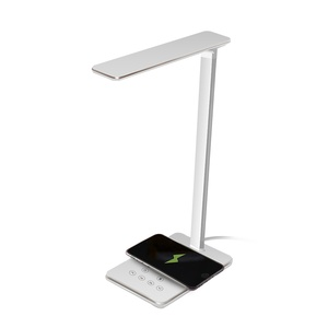 5W Dimmable Table Lamp with Qi Wireless Charger ,and 4 Color Temperature USB Charging Port,Touch Control