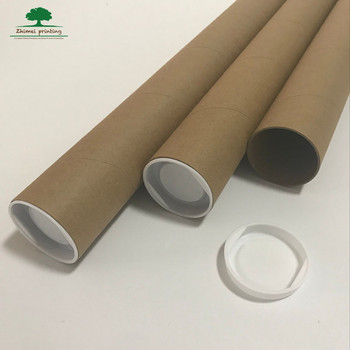 original cardboard shipping tube/mailing/poster packaging tube round box brown paper kraft tube metal lid/plastic lid