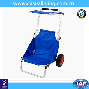 Folding Canvas Deck Chair With Wheels And Sun Canopy