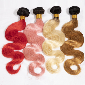 Luxefame Two Tone Colored Weave Bundles Brazilian Color Ombre Hair Weaves, Kinky Curly 1b 27 Color Remy Ombre Crochet Hair