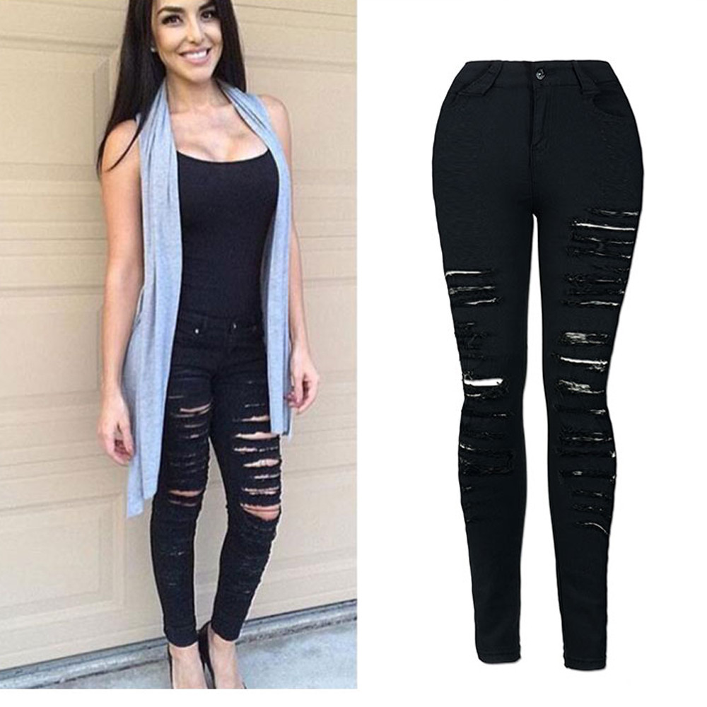 c27faa81993 2019 2018 Autumn Black Hole Skinny Ripped Jeans Women Jeggings Cool Denim  High Waist Pants Capris Female Skinny Black Casual Jeans From Chencloth66