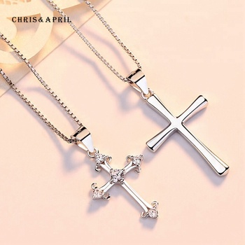 Latest design 925 sterling silver cross pendant necklace