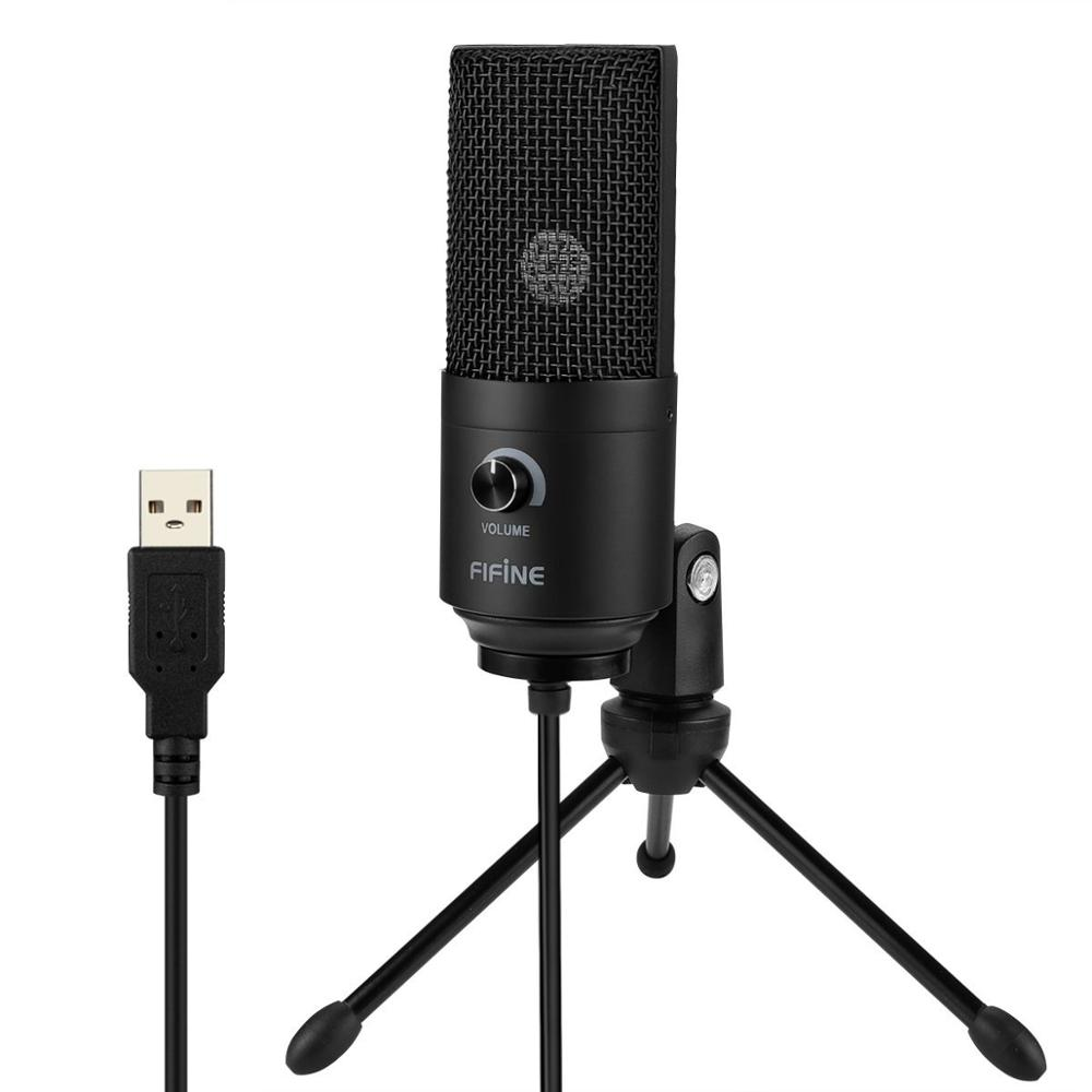 Fifine Metal USB Microfone Recording Condenser Microphone For Laptop MAC Windows Streaming Broadcast Studio Microphone Stand