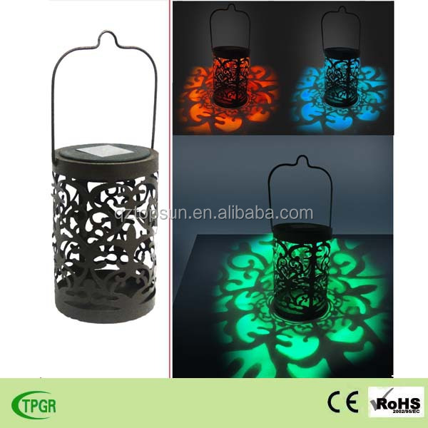 solar powered color changing antique metal lantern for garden decoration