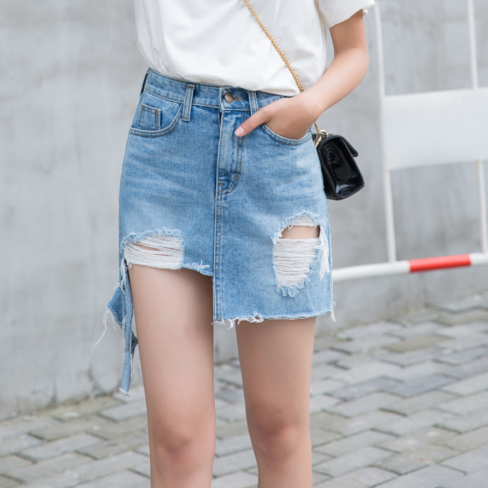 Fabrik Sexy Damen Blau Dünne 2019 mode günstige frauen denim röcke Short Mini Rock OEM jeans
