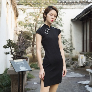 Sale Pear&Hibiscus Women High Quality Black Short Sleeve Knit Women Clothes Dress