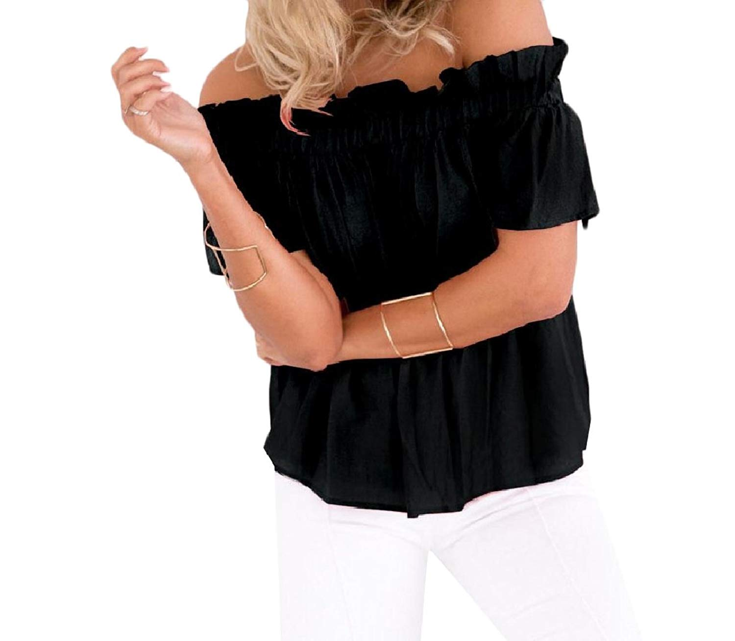 Zimaes-Women Pure Color Short-Sleeve Ruffle Sexy Shoulder Off T-Shirt