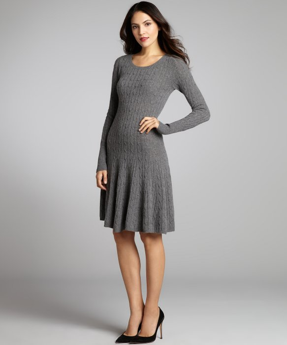 Bankers Grey Cashmere Cable Knit Flared Sweater Dress - Buy Winter ...