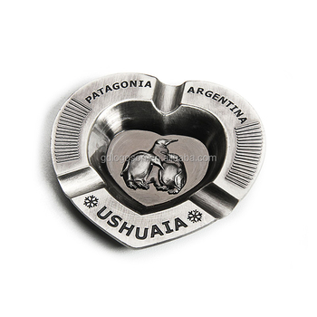 Argentina Types Of Ashtrays Tourists Souvenirs Patagonia Ushuaia Heart Shaped Anti Silver Metal Custom Ash Tray