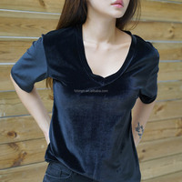 Stock fashion style OEM your brand velvet fabric t shirts for women summer wear