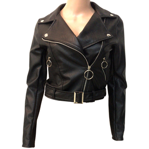 Italy Wholesale High Quality Women Short Black Leather Jackets