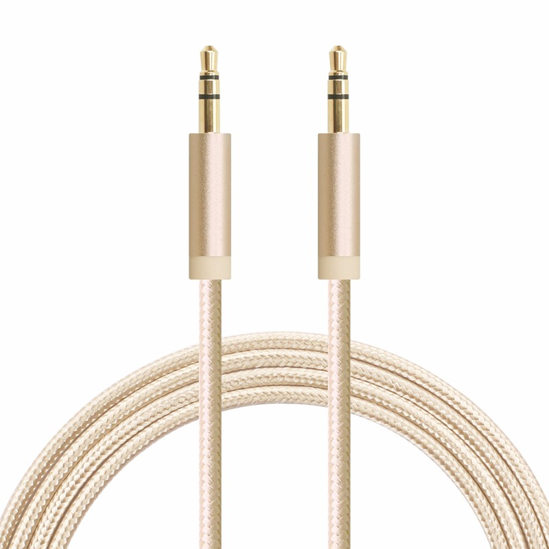 1M 3.3ft Fabric Braided gold plated 3.5mm Aux Audio Cable