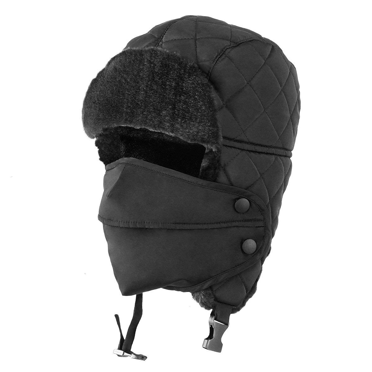 1f73b728bc9af Get Quotations · OMECHY Unisex Winter Trooper Trapper Hat Hunting Hat  Ushanka Ear Flap Chin Strap with Windproof Mask