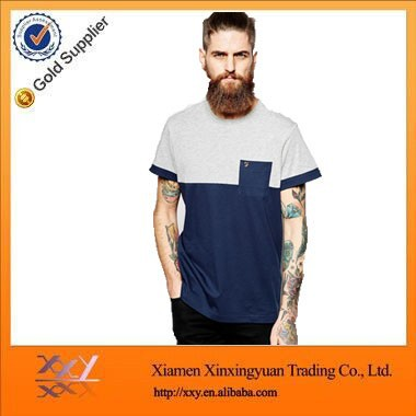 new design stitching collar pocket men t-shirt , pocket t-shirt in different color , t shirt with pocket