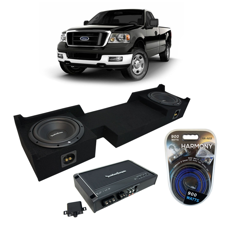 "2004-2008 Ford F-150 Ext Super Cab Truck Rockford Prime R1S410 Dual 10"" Sub Box Enclosure & R250X1 Amp"