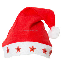 Promotion Red Plush Christmas Hats For Kids and Adults