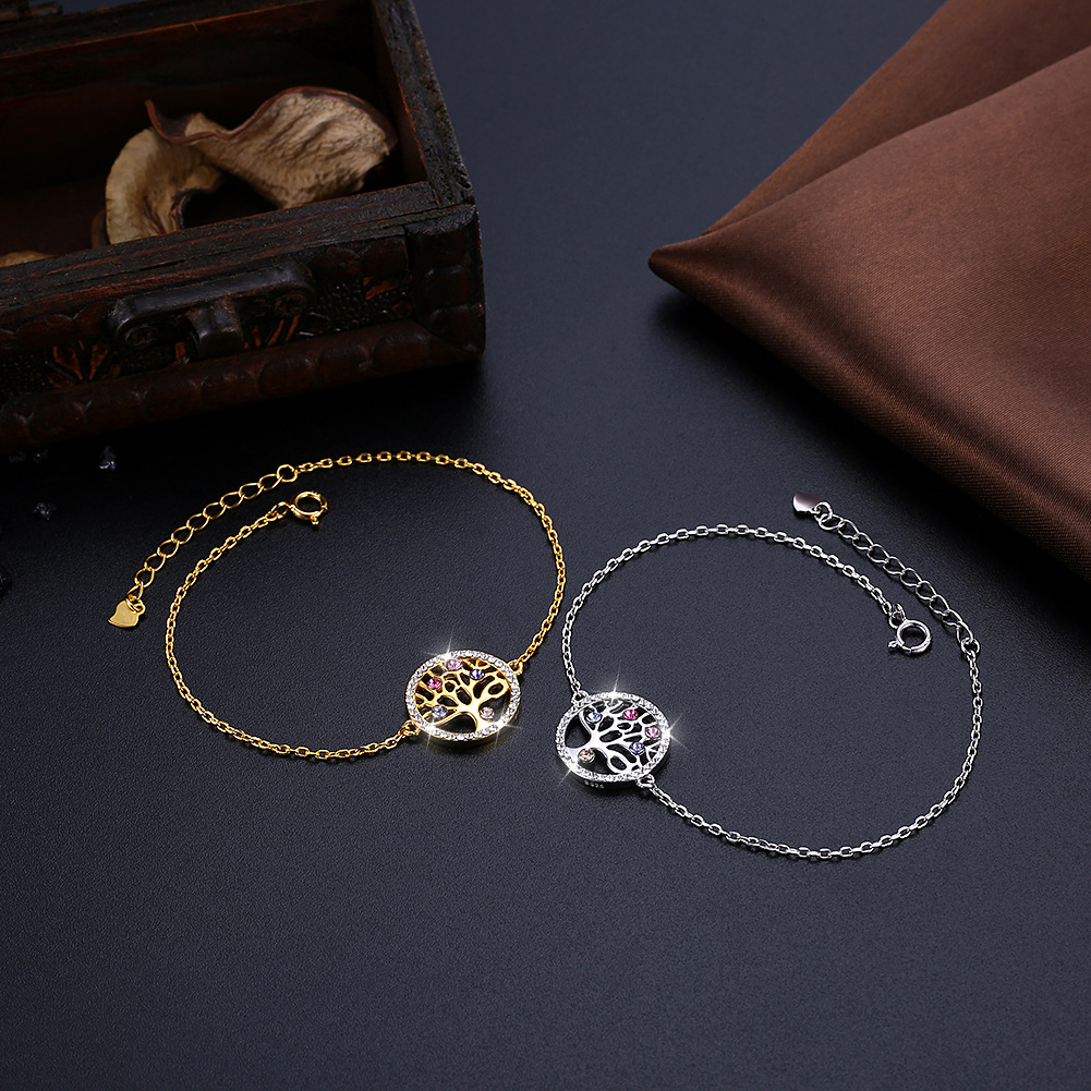 Caoshi Mother's Day Gifts Crystal Bracelets For Women 2019 Adjustable Tree Tree Bracelet Bangle Jewelry
