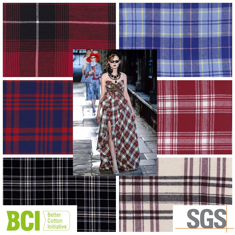woven cotton twill brushed check cheap flaneel fabric from china suppiler