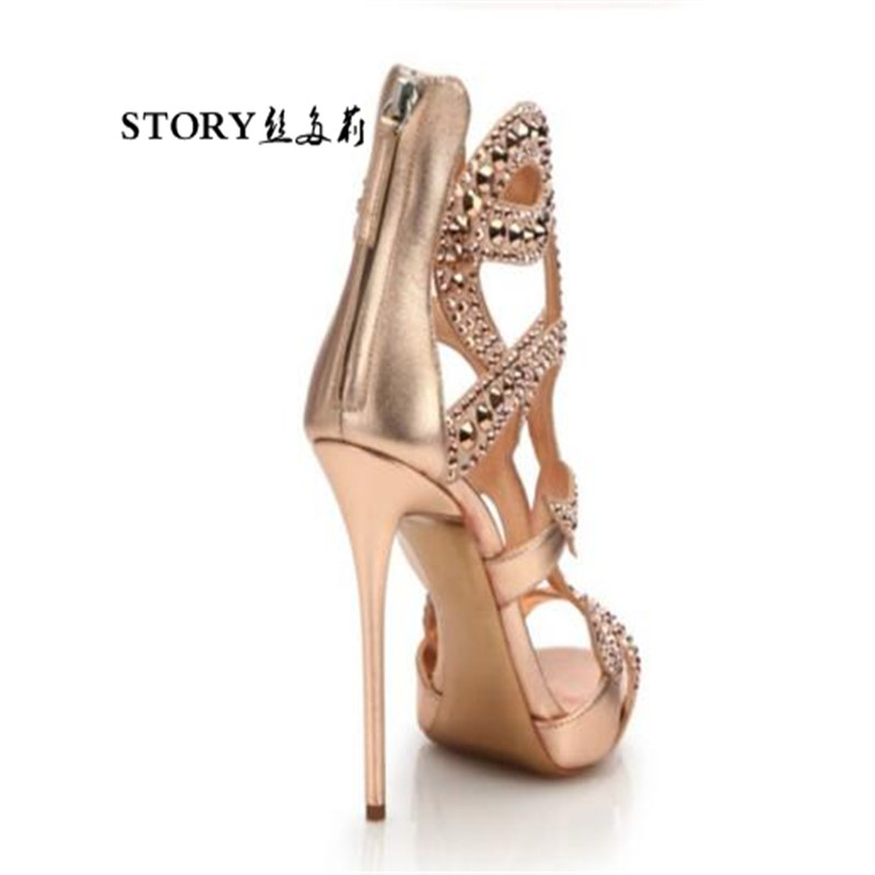 high sexy up shoes stiletto peep heeled thin ladies lace sandals party pump summer ol nude ankle fashion toe crystal 1x5Xqq4w7