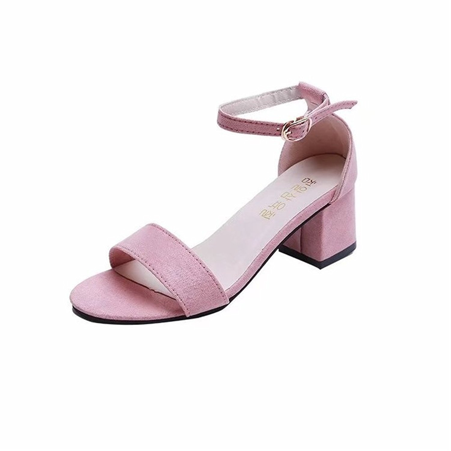 9549cb2d89c Huanhuan Womens Shoes Suede Summer Low Mid Heel Block Peep Toe Ladies Ankle  Strap Party Strappy