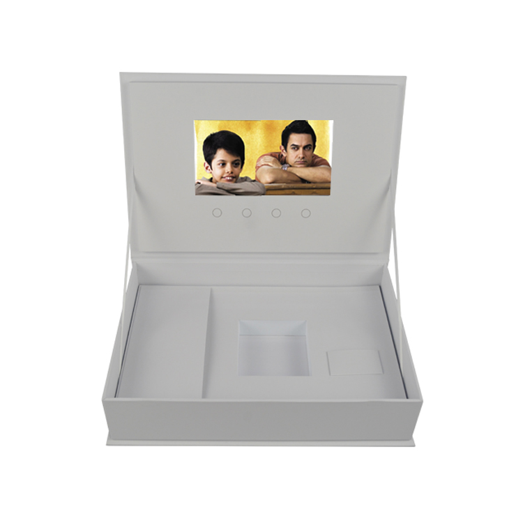 Custom white luxury  jewellery hardcover 7 inch music gift box lcd video player