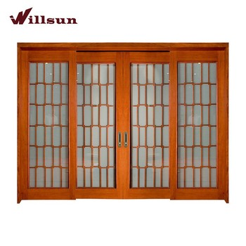 Charmant Wood Frame 4 Panel Sliding Glass Patio Doors Sliding Interior French Doors  Best French Patio Doors
