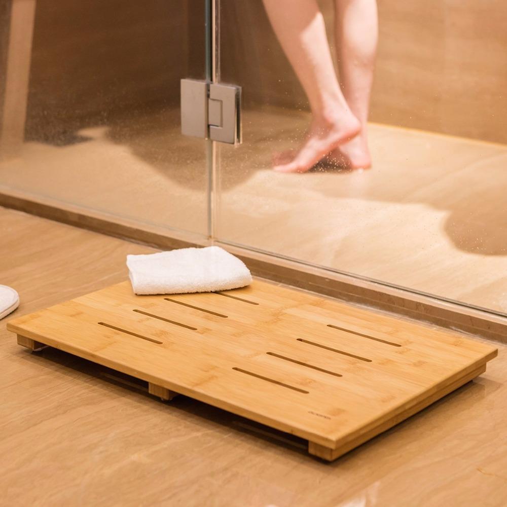 Non Slip Wood Bamboo Shower Floor Bathroom Mat With Drain Holes ...