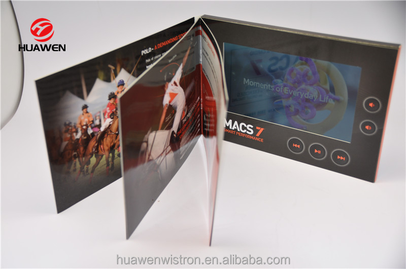 Video catalogue with 7 inch TFT LCD screen A5 350gsm Art Paper Glossy finishing customized printing