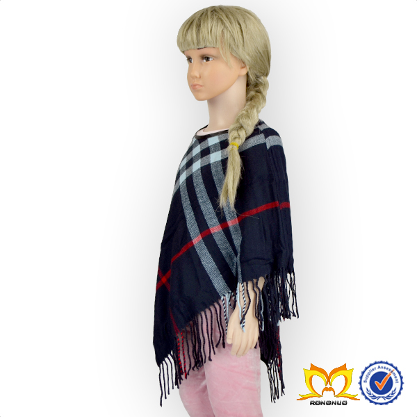 2016 Hot Sale Stylish New Model Shawl Kids Navy Blue Plaids Cape Fashion Names For Clothes