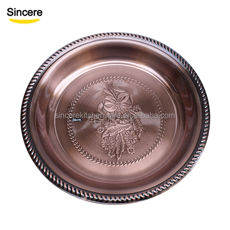 Wholesale factory Stainless Steel round tray rose gold charger plates metal fruit tray