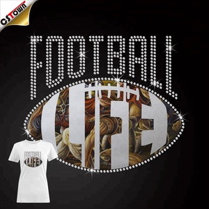 Wholesale custom Rhinestone Comic Style Football Life Heat iron on vinyl Transfer sports designs for T-shirts