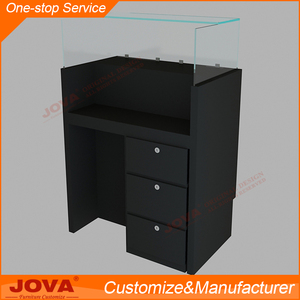 Custom made black wood and glass free standing laptop computer display desk table stand with drawers