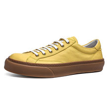 Мужская обувь на платформе; Повседневные высокие кроссовки из натуральной кожи; модные кроссовки желтого, черного и белого цвета; уличное д...(Китай)
