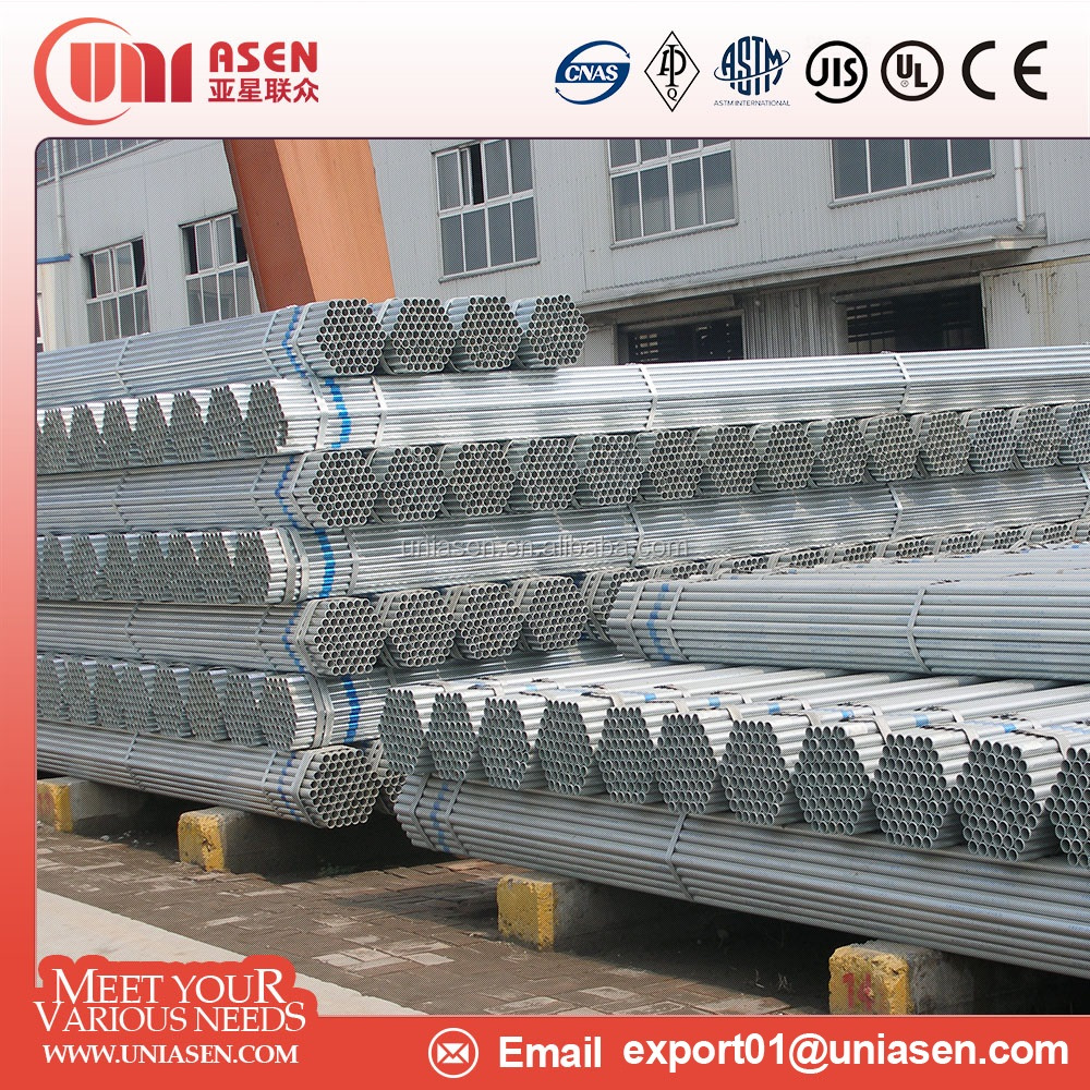 ERW HFW Hot dip galvanized steel pipe gi pipe scaffolding pipe hollow section BS1387 ISO65