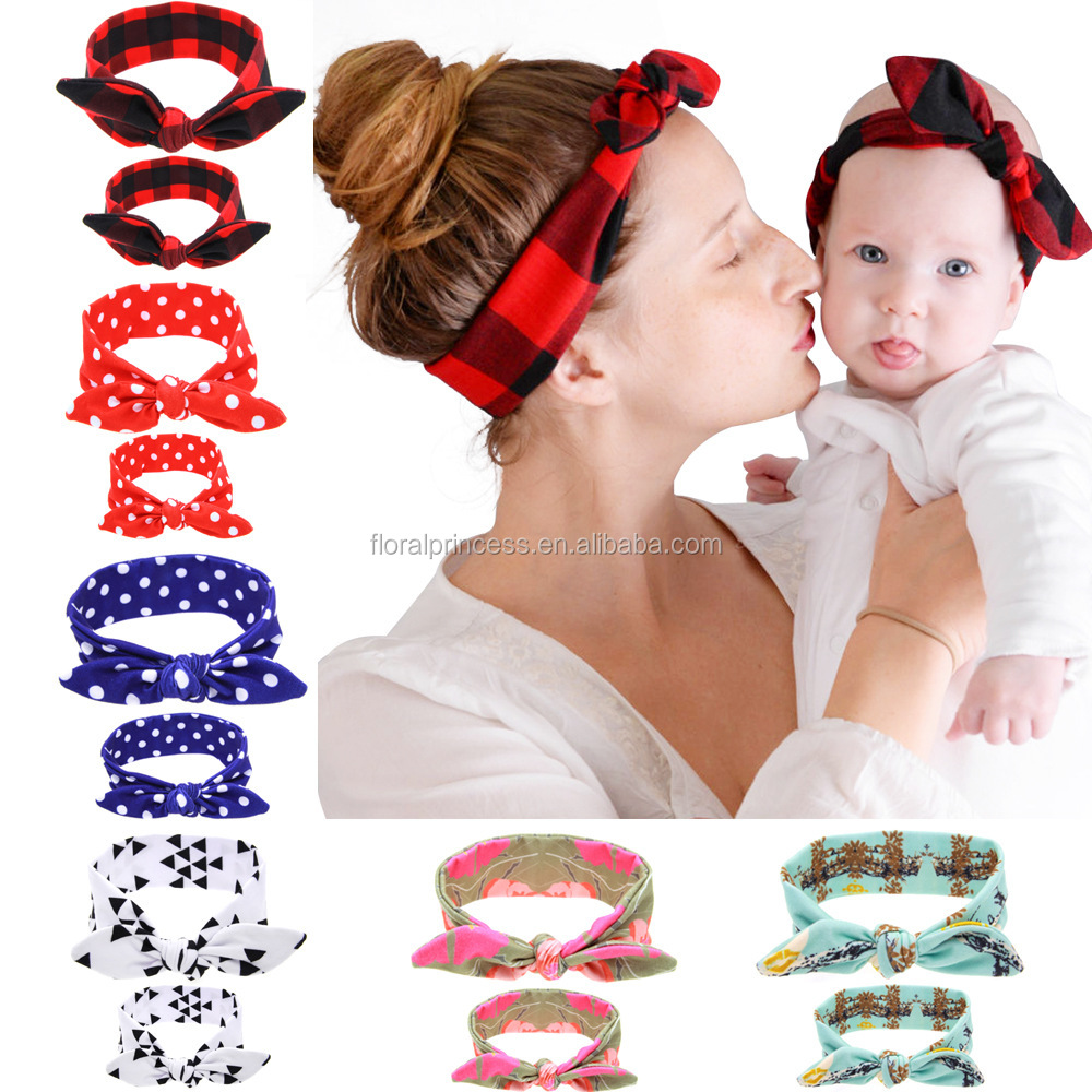 Mother And Daughter Dot Plaid Bunny Ear Headbands Children <strong>Hair</strong> <strong>Accessories</strong> 2017 Christmas Mommy And Me HeadWear