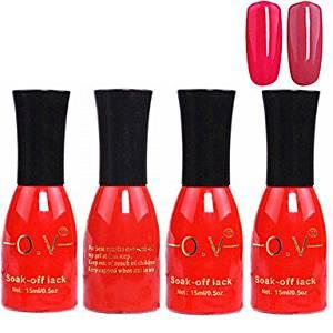 Tint 4PCS OV Red Bottle Soak-off UV Gel Set Top Coat+Base Gel+2 UV Color Builder Gel(No.179-180,15ml)