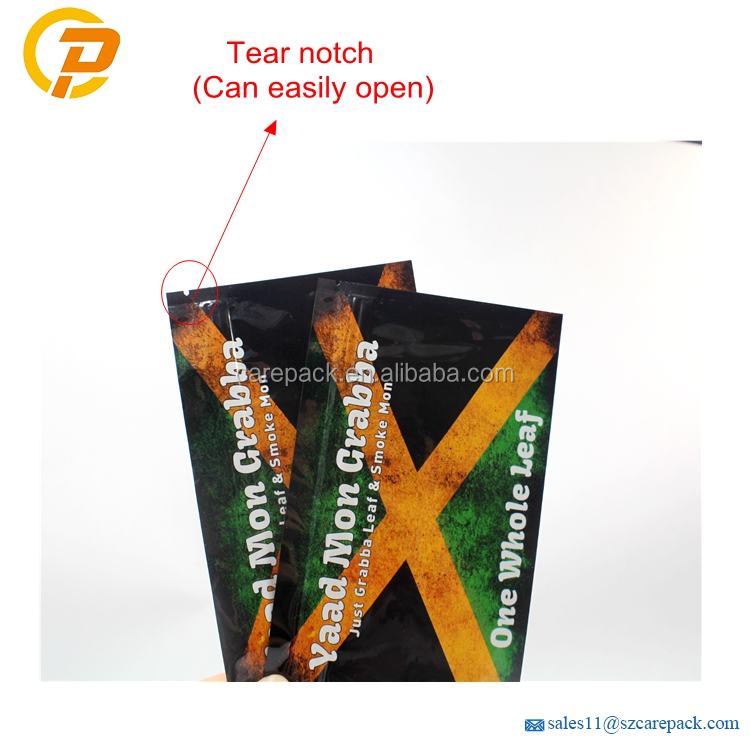 Custom Printed Moistureproof Resealable Rolling Tobacco Packaging  Bag Mylar Flat Pouch