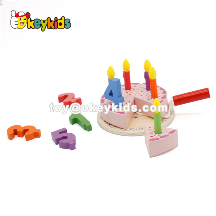 Wholesale meaningful pretend toy wooden birthday cake toy for baby W10B196