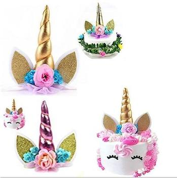 Unicorn Horns Cake Topper Decor Halloween Birthday Party Event Supplies Kids Birthday Cake Decoration