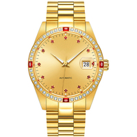 Custom roles gold luxury brand diamond inlayed multi-function stainless steel men automatic watches
