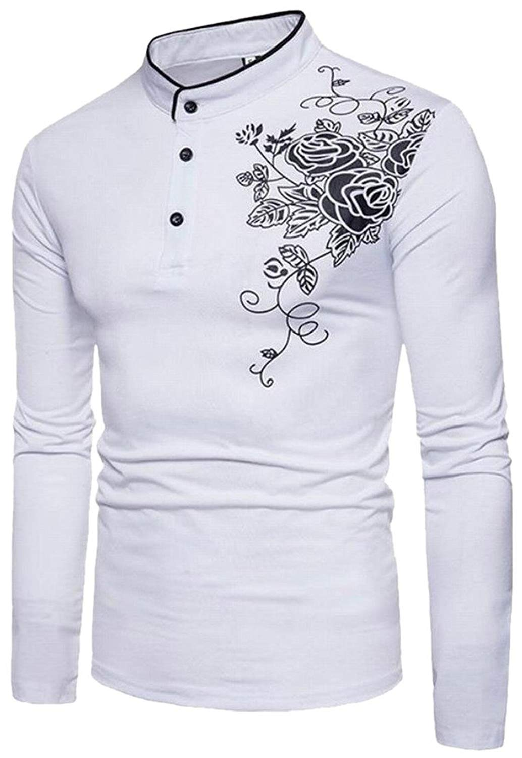 ca2ea250a62 Get Quotations · WSPLYSPJY Men s Henley Collar Long Sleeves T-Shirt  Fashionable Henley Sweatshirts White M
