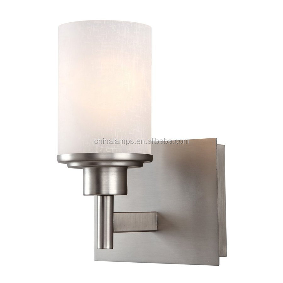 Brushed Nickel Modern Living Room Lamps Glass Shade Wall Sconce ...