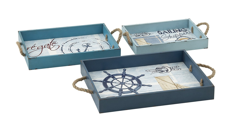 Plutus Brands Blue Marine Wood Rope Tray (Set of 3)
