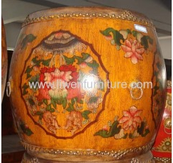 Chinese Antique Furniture Antique Reproduction Painted Drum